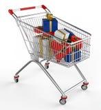 Shopwarenkorb und -geschenk Lizenzfreies Stockbild