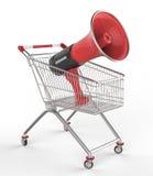 Shopwarenkorb und -megaphon Stockbild