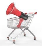 Shopwarenkorb und -megaphon Lizenzfreie Stockfotografie
