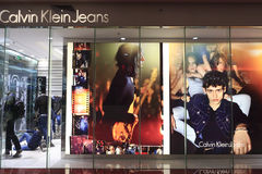 Shopwindow av Calvin Klein jeans Arkivfoton