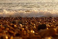The shore. Close up of Brighton shore with waves against pebbles in evening light Royalty Free Stock Photos