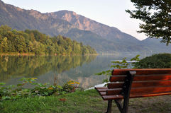 On the shore of an Alpine Lake. On the shore of Lake Kochelsee in the Bavarian Alps royalty free stock images
