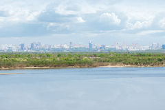 The shore of the Amur River in the background Khabarovsk Stock Images
