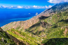 Shore of Atlantic ocean with mountain Stock Image