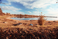 Shore of autumn lake Stock Photography