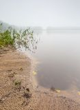Shore of autumnal foggy lake. Beautiful polish landscape photographed in september at bad weather Stock Photography