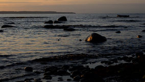 Shore of the Baltic Sea illuminated by the setting sun stock video
