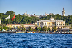 Shore of the Bosphorus with Turkish Green Crescent Society build Stock Photo