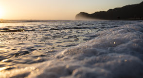 Shore Break Beach. A foamy wave rolls into the shore at Piha Beach, New Zealand Royalty Free Stock Images