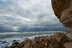 On the shore of the Caspian Sea. Caspian Sea in Kazakhstan. The Caspian Sea is the largest enclosed inland body of water on Earth by area, variously classed as royalty free stock images
