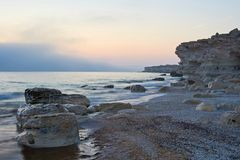 On the shore of the Caspian Sea. Caspian Sea in Kazakhstan. The Caspian Sea is the largest enclosed inland body of water on Earth by area, variously classed as royalty free stock photography