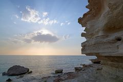 On the shore of the Caspian Sea. The Caspian Sea is the largest enclosed inland water body on Earth by area royalty free stock photography