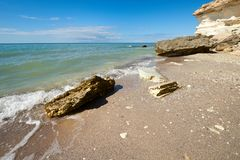 On the shore of the Caspian Sea. The Caspian Sea is the largest enclosed inland water body on Earth by area stock images
