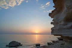 On the shore of the Caspian Sea. The Caspian Sea is the largest enclosed inland water body on Earth by area stock image