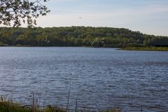 On the shore of a circular lake. The lake and green forest Royalty Free Stock Images