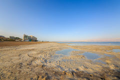Shore of the Dead Sea with hotels in Ein Bokek Royalty Free Stock Images