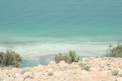 Shore of the Dead Sea. View of the Israeli shore of the Dead Sea, with mineral deposits Royalty Free Stock Images
