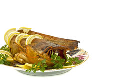 Shore dinner - bloated fresh-water catfish Royalty Free Stock Photography