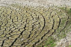 Shore of a dry lake, the earth has broken up in large floes, the dryness is clearly visible, consequence of the hot summer of 2018 royalty free stock photos