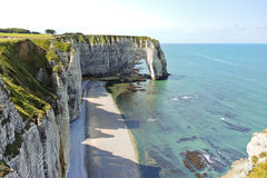 Shore of english channel beach in Etretat Royalty Free Stock Photo
