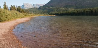 Shore of Fishercap Lake on the Swiftcurrent hiking trail in the Many Glacier region of Glacier National Park in Montana USA. Shore of Fishercap Lake on the royalty free stock photography