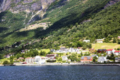 The shore of the fjord and Norwegian city Royalty Free Stock Images
