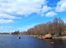 The shore of the Gulf of Vyborg in the spring. royalty free stock photos