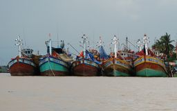Shore and harbor in Vietnam Stock Image