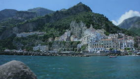 The Shore of the Harbour Porto di Amalfi in Italy stock video footage