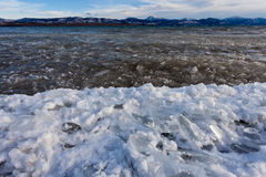 Shore ice Lage Laberge freeze-up Yukon Canada Royalty Free Stock Photo