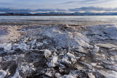 Shore ice piling up Lage Laberge Yukon Canada Stock Photography