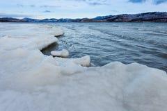 Shore ice sheet Lake Laberge Yukon Territory Canada Stock Photo