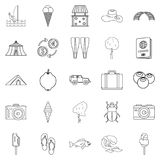 Shore icons set, outline style. Shore icons set. Outline set of 25 shore vector icons for web isolated on white background Royalty Free Stock Photos
