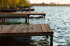 Shore with jetty. And waves royalty free stock photography