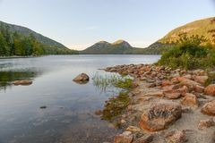 On the Shore at Jordan Pond. A view from the shore of Jordan Pond in Acadia National Park Stock Images