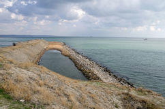 Shore of the Kerch Strait and the ships in the roadstead Royalty Free Stock Photography