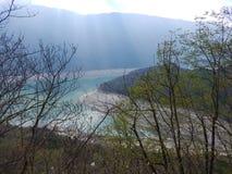 Shore of lago molveno in trentino in italy Stock Image