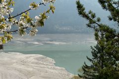 Shore of lago molveno in trentino in italy Royalty Free Stock Photos