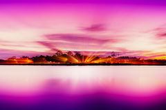 Shore of lake hour in pink. vector illustration