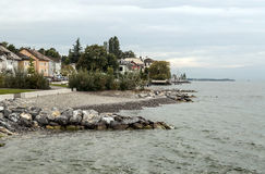Shore of Lake Leman in France Stock Photos
