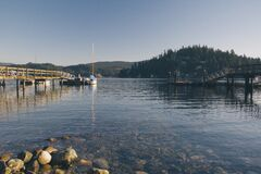 Shore of Lake by Piers Stock Photos