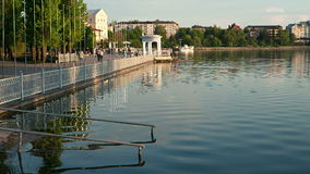 Shore of the lake at sunset in Ternopil, Ukraine stock footage