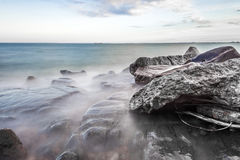 Shore of Lake Superior. Rocky shore of Lake Superior during dusk time Stock Photos