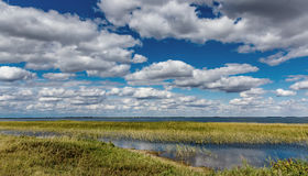 On the shore of the lake. On tView of the lake in the outback of Kazakhstanhe shore of the lake Stock Photography