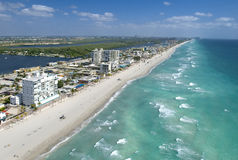 Shore line. Areal view of tropical beach line with resorts Royalty Free Stock Photos