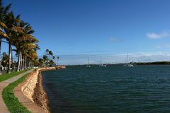 Shore Line Promenade with Sailing Boats Stock Photography