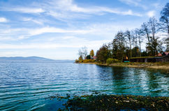 Shore of Lipno Lake. With beach in autumn in Czech Republic. Nice view of beach and forest in background Stock Images