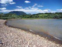 Shore of Liptovska Mara lake and Western Tatras royalty free stock image