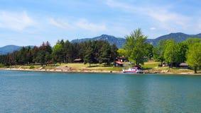 A shore of Liptovsky Trnovec, Slovakia stock photos