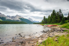 Shore of Maligne Lake. Jasper National Park, Alberta, Canada Royalty Free Stock Photography